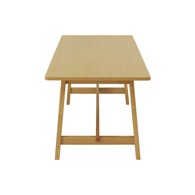 Haynes Table 2.2m in Oak with 4 Ladee Dining Chairs in Natural, Pale Grey - 10