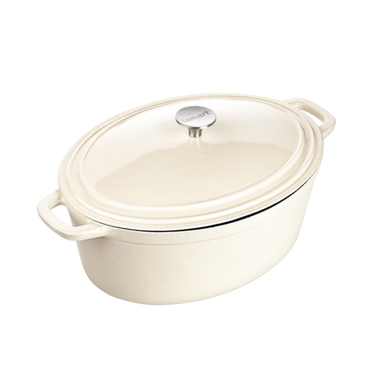 Lamart - Lamart Enamelled Cast Iron Oval Pot With Lid - Cream