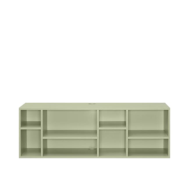 Liam Media Rack 1.2m in Dust Green with Innis Coffee Table in White - 1