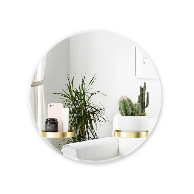 Perch Round Mirror with Shelf 60 cm - Brass - 3