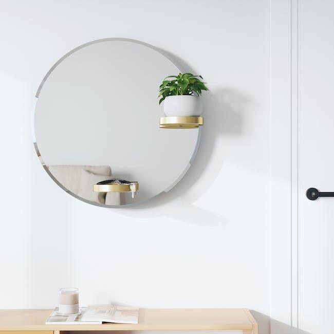 Perch Round Mirror with Shelf 60 cm - Brass - 9