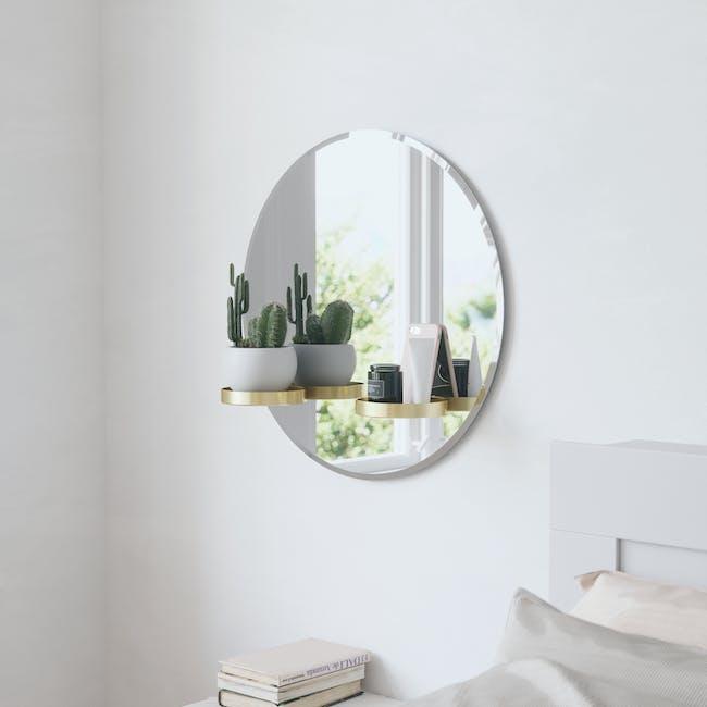 Perch Round Mirror with Shelf 60 cm - Brass - 8