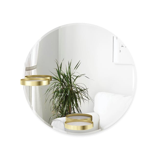 Perch Round Mirror with Shelf 60 cm - Brass - 5