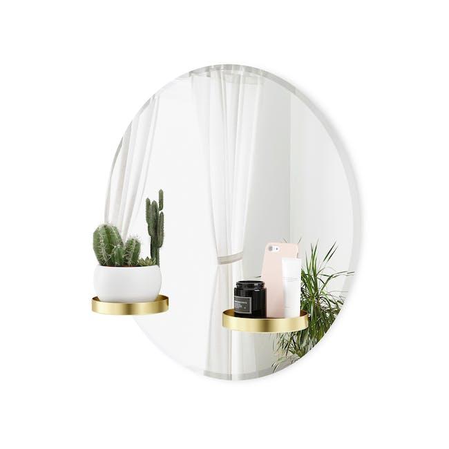Perch Round Mirror with Shelf 60 cm - Brass - 2
