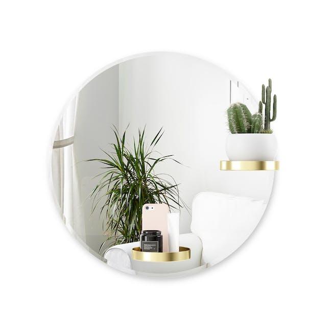 Perch Round Mirror with Shelf 60 cm - Brass - 0