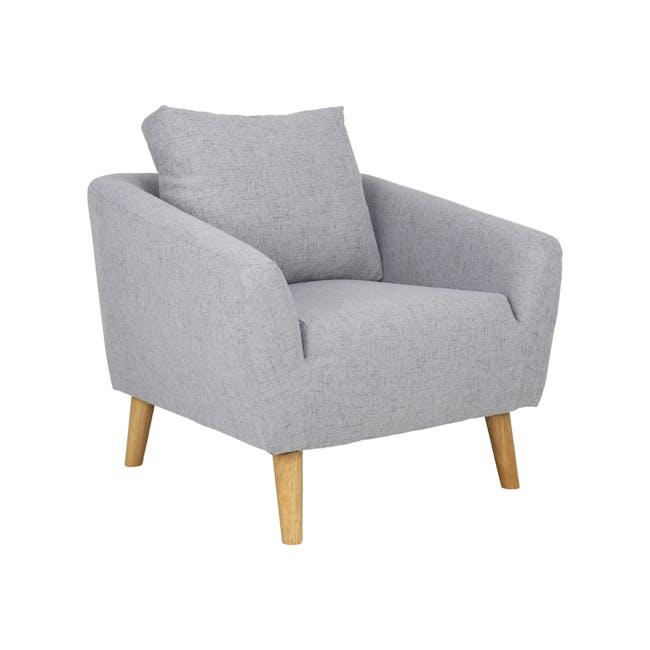 Hana 2 Seater Sofa with Hana Armchair - Light Grey - 3