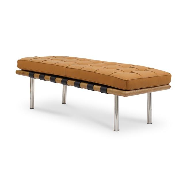 Barcelona 2 Seater Bench Replica - Tan (Genuine Cowhide) - 0
