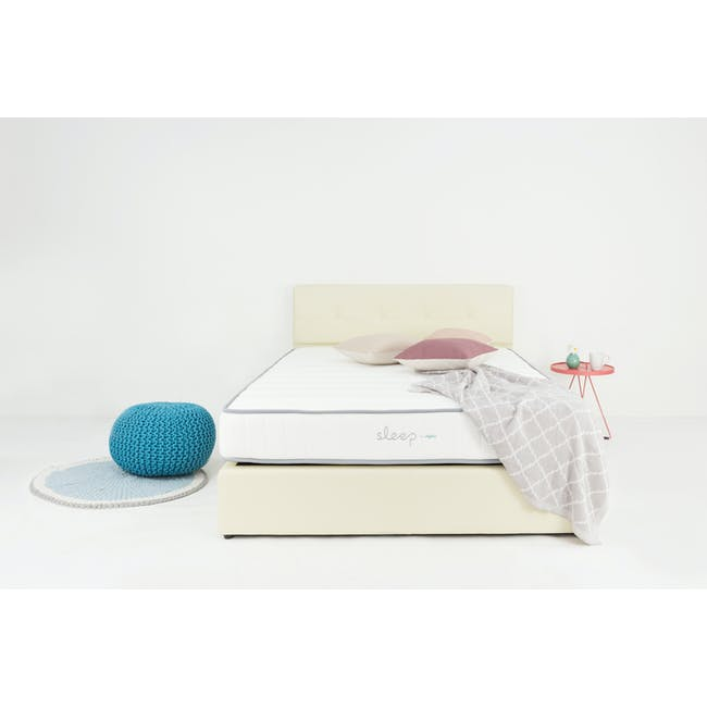 ESSENTIALS Super Single Headboard Box Bed - Khaki (Fabric) - 10