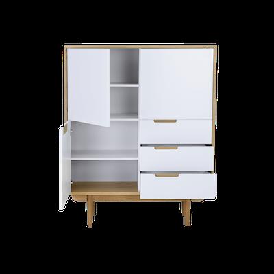 Larisa Tall Sideboard 1.1m - Oak, White - Image 2