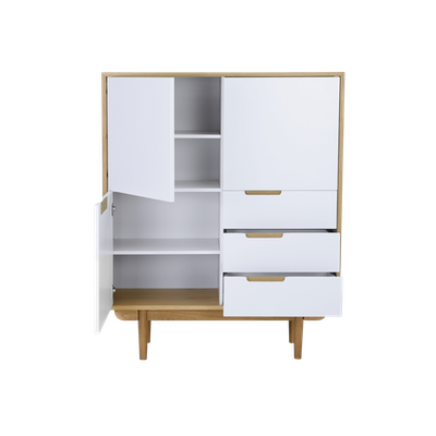 Larisa Tall Sideboard 1.1m - Oak, White - Image 2