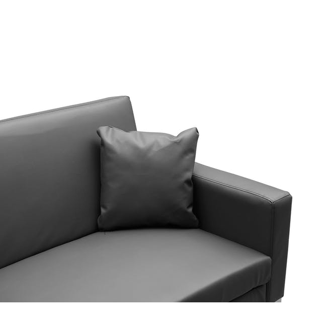 Leslie Sofa Bed - Slate Grey (Faux Leather) - 7