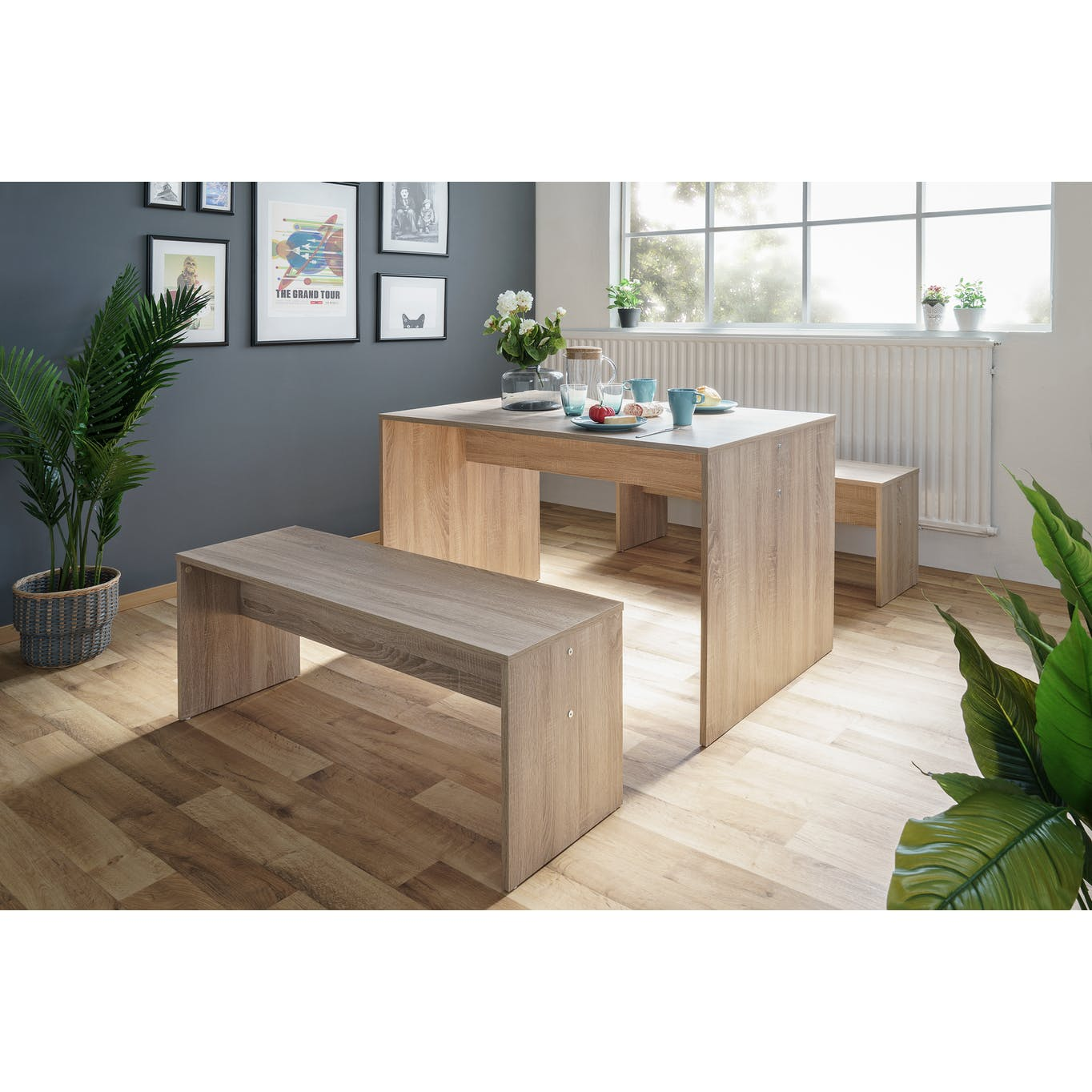 Light wooden dining table with 2 matching benches