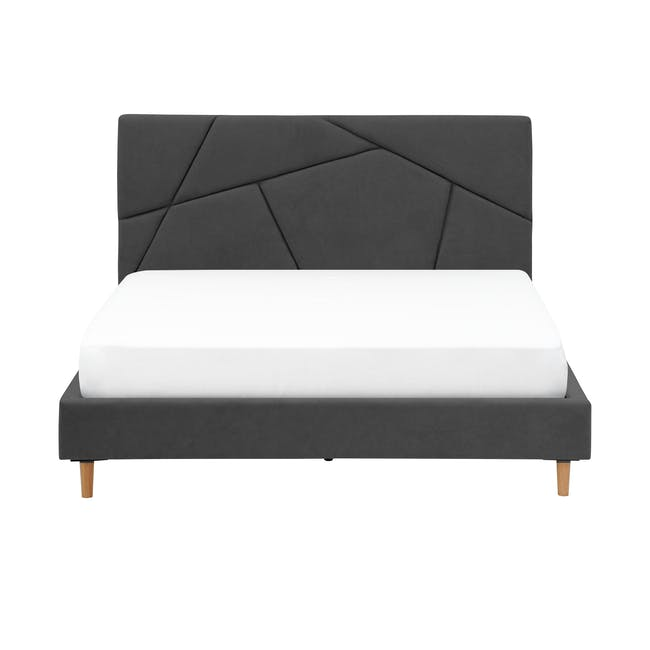 Kieran King Bed in Onyx Grey with 2 Odin Bedside Tables in Natural - 1