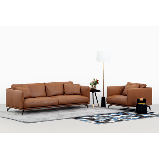 Como 3 Seater Sofa Brown Genuine Cowhide Down Feathers