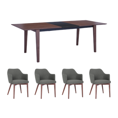 Kiros Extendable Dining Table 1.8m with 4 Gitel Dining Chairs - Walnut - Image 1