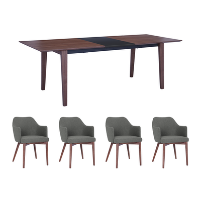 Kiros Extendable Dining Table 1 8m With 4 Gitel Chairs Walnut Image
