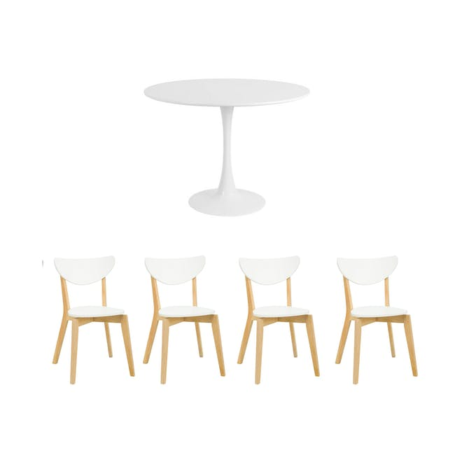 Carmen Round Dining Table 1m with 4 Harold Dining Chairs in White - 0
