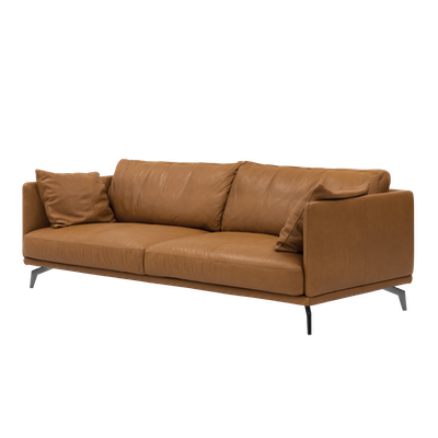 Como 3 Seater Sofa - Tan (Premium Cowhide), Down Feathers - Image 2