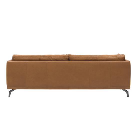 SourceByNet - Como 3 Seater Sofa - Tan (Premium Cowhide), Down Feathers