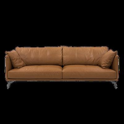 Como 3 Seater Sofa with Como 1.5 Seater Sofa - Tan (Premium Cowhide) - Image 2