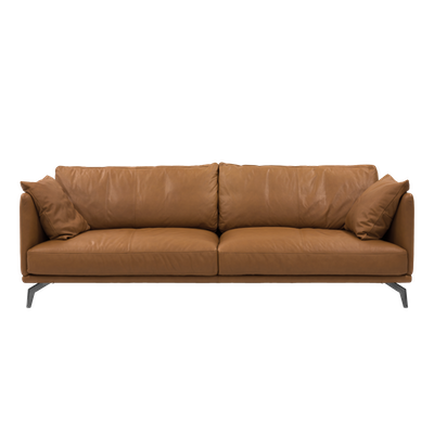 Como 3 Seater Sofa - Tan (Premium Cowhide), Down Feathers - Image 1