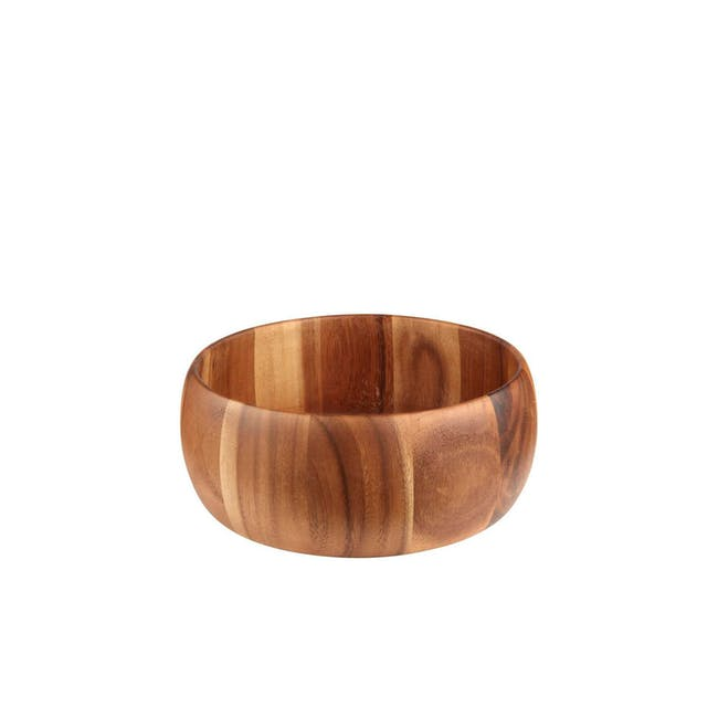 Acacia Wood Medium Curved Side Bowl - 0