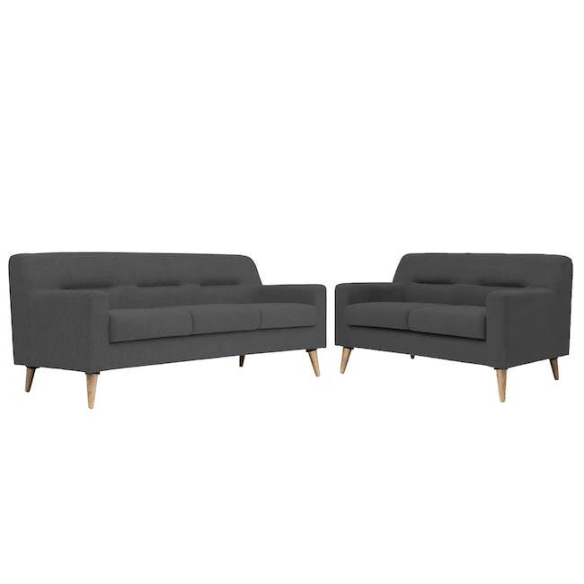 Damien 3 Seater Sofa with Damien 2 Seater Sofa - Onyx Grey - 0