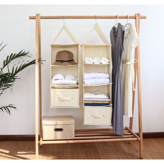 1688 - Cindy 4-Tier Hanging Wardrobe Organiser - Cream