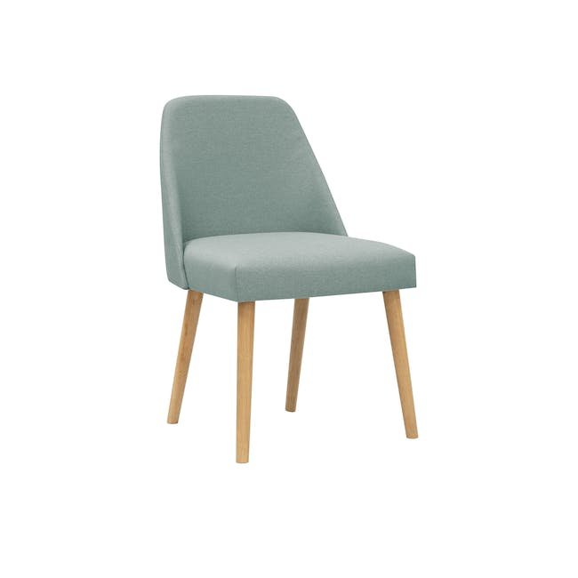 Roden Dining Table 1.8m in Natural with 4 Miranda Chairs in Sea Green and Pink - 6