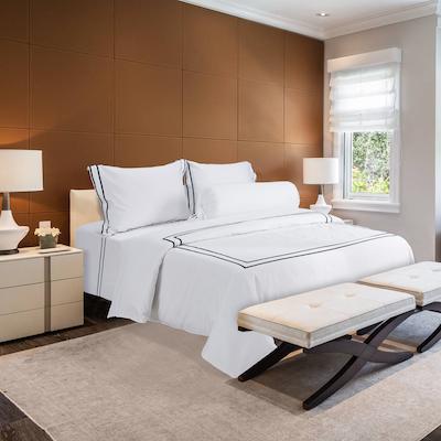 (King) Hotelier Prestigio™ 6-pc Bedding Set - Black Grosgrain Border - Image 1