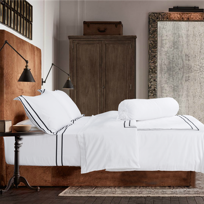 (King) Hotelier Prestigio™ 6-pc Bedding Set - Black Grosgrain Border - Image 2
