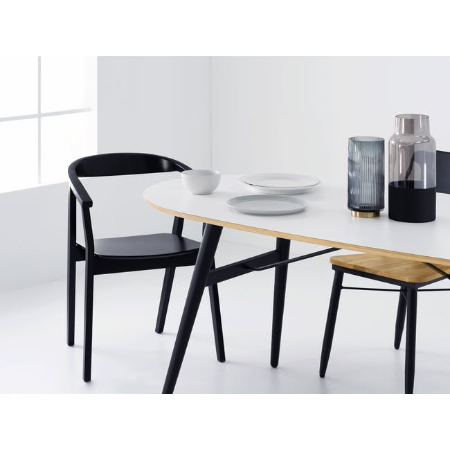 Fleming Oval Dining Table 1.8m - White, Black - 1