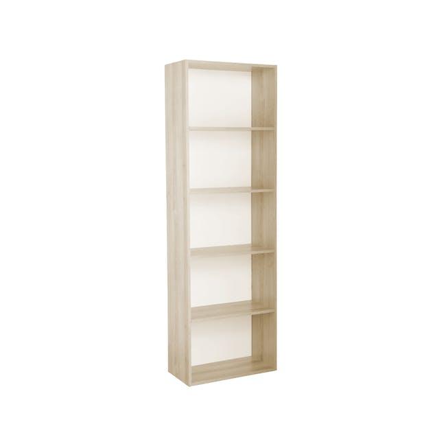 Hitoshi 5-Tier Bookshelf - Natural, White - 1