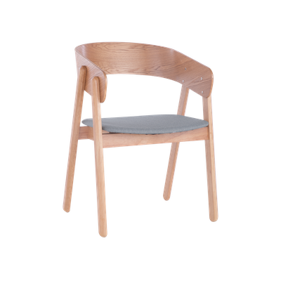Venice Dining Chair - Oak, Light Grey - Image 1