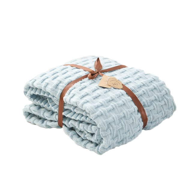 Camille Knitted Throw Blanket 110 x 175 cm - Sky Blue - 0