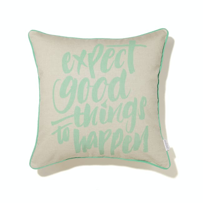 Expect Good Things To Happen Cushion Cover - Pastel Green - 0