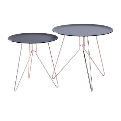 Oba Coffee Table (Set of 2) - Black Acrylic, Copper - Image 1
