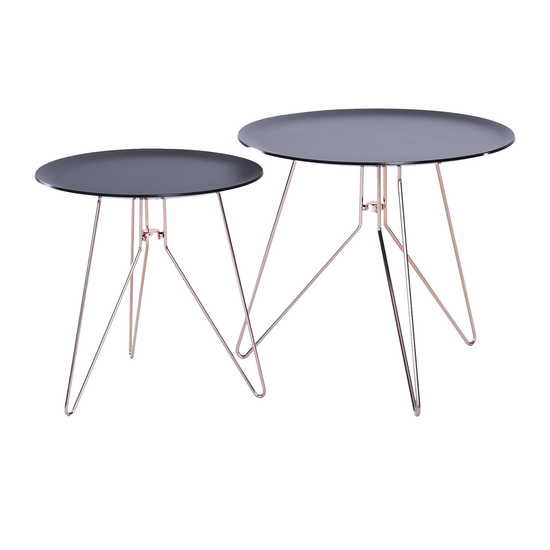 Helga - Oba Coffee Table (Set of 2) - Black Acrylic, Copper