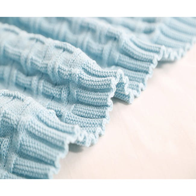 Camille Knitted Throw Blanket 110 x 175 cm - Sky Blue - 2