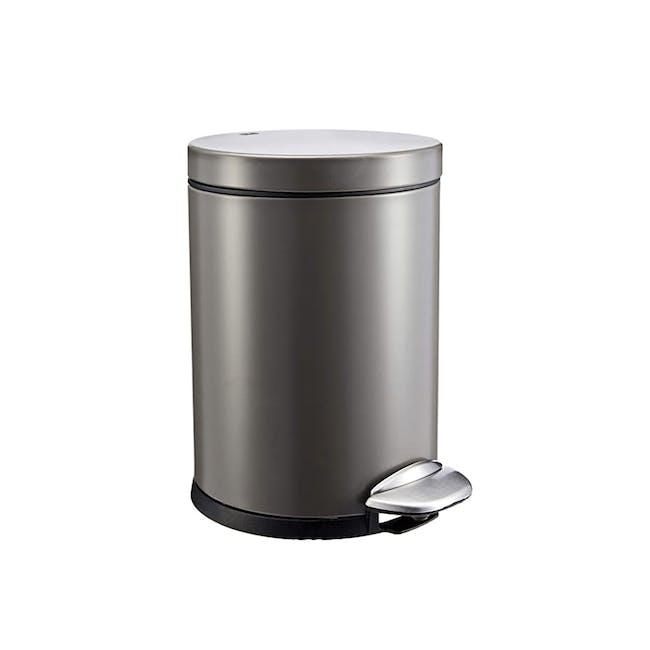 EKO Luna Stainless Steel Step Bin With Soft Closing Lid - Titanium Grey (4 Sizes) - 0