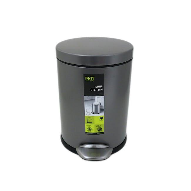 EKO Luna Stainless Steel Step Bin With Soft Closing Lid - Titanium Grey (4 Sizes) - 1