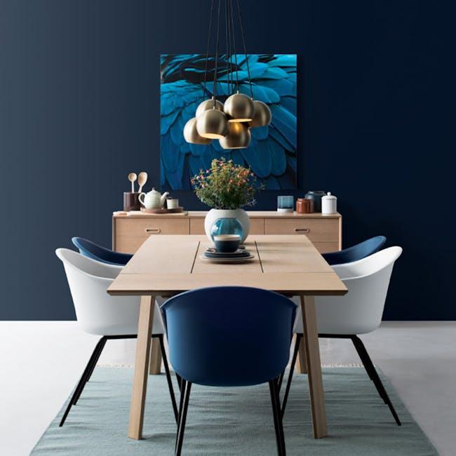 Rayner Dining Armchair - Matt Black, Midnight Blue - 1