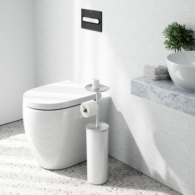 Portaloo Toilet Paper Stand with Storage - White - 9