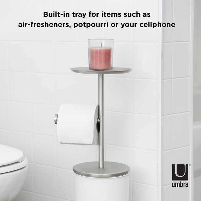 Portaloo Toilet Paper Stand with Storage - White - 6
