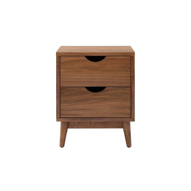 Kyoto Twin Drawer Bedside Table - Walnut - 1
