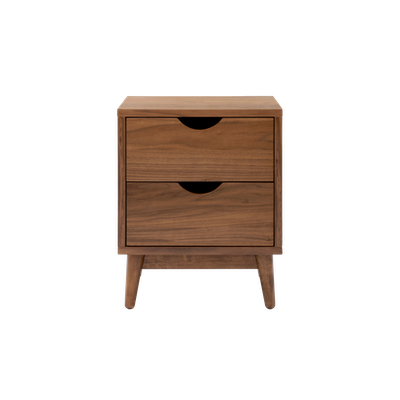 Kyoto Twin Drawer Bedside Table - Walnut - Image 2
