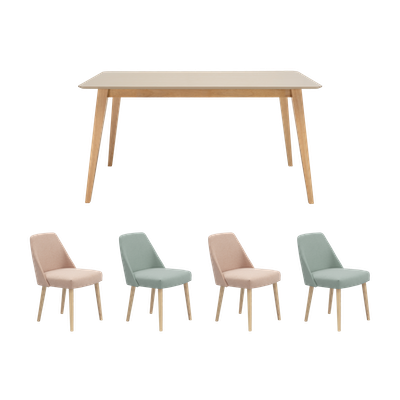 Ralph Dining Table 1.5m with 4 Miranda Dining Chairs - Taupe Grey - Image 1