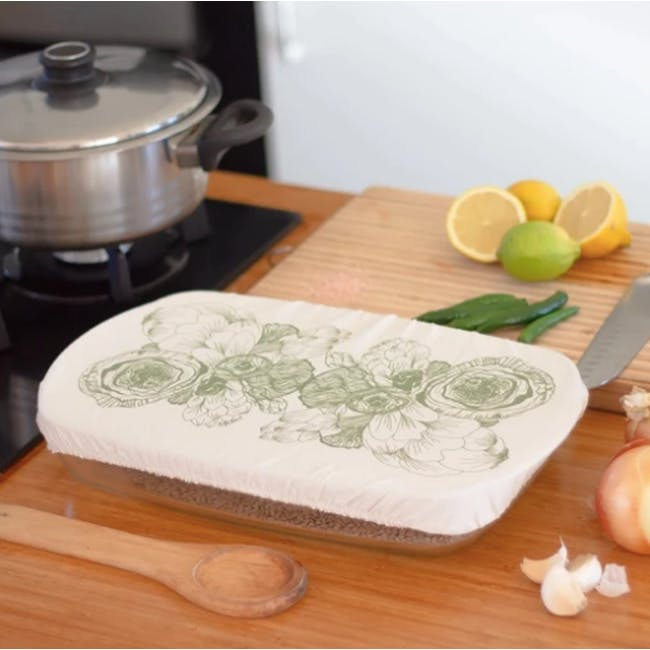 Halo Rectangle Casserole Cover - AD Edible Flowers - 1