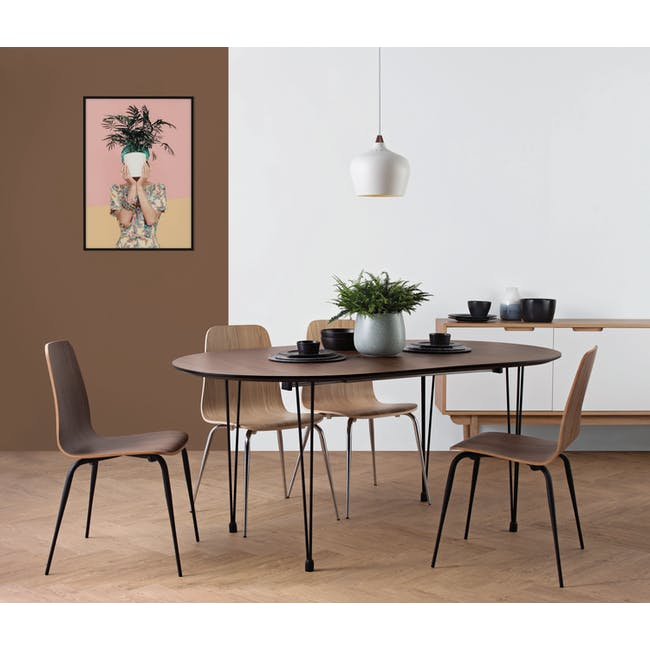 Rikku Extendable Oval Dining Table 1.7m - Walnut, Black - 1