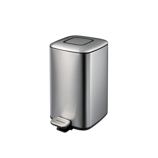 EKO Regent Stainless Steel Square Step Bin With Soft Closing Lid 9L - Brushed - 0